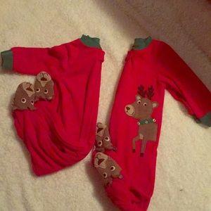 Carters Red Reindeer Fleece Bodysuit Christmas